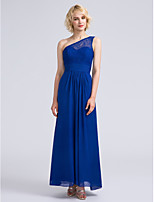 Ankle-length Chiffon / Lace Bridesmaid Dress Sheath / Column One Shoulder with Lace / Ruching