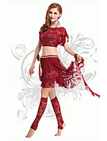 Belly Dance Outfits Women's Performance Chinlon / Lace Lace / Sash/Ribbon 2 PiecesBlack /