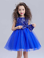 A-line Knee-length Flower Girl Dress - Cotton / Satin / Tulle / Sequined Sleeveless Jewel with Bow