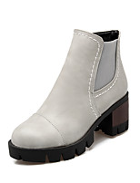 Women's Shoes PU Fall/Winter Bootie/Round Toe Boots Office & Career/Casual Chunky Heel Zipper Black/Gray/Burgundy
