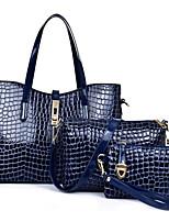 Mulher Conjuntos de saco Couro Ecológico Todas as Estações zíper Azul Preto Vermelho