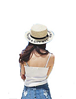Women Summer Solid Middle Brim Letter Patchwork Bucket Hat Straw Sun Hat