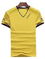 Print / Effen-Informeel / Werk-Heren-Katoen / Spandex-T-shirt-Korte mouw Blauw / Meerkleurig / Wit / Geel