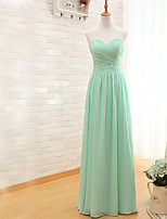 Floor-length Chiffon Bridesmaid Dress Sheath / Column Sweetheart with Criss Cross