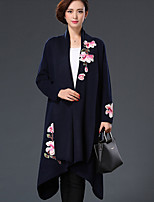 Women's Formal Chinoiserie Coat,Embroidered Shirt Collar Long Sleeve Winter Blue / Red / Black / Gray Wool Thick