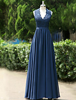 Formal Evening Dress A-line Queen Anne Floor-length Satin with Appliques / Draping