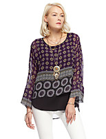 Heart Soul® Women's Round Neck Long Sleeve T Shirt Purple-12AA23573
