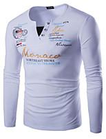 Masculino Camiseta Algodão / Elastano Estampado / Letra Manga Comprida Casual-Preto / Azul / Vermelho / Branco / Cinza