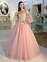 Formal Evening Dress Ball Gown Off-the-shoulder Floor-length Lace / Tulle with Flower(s) / Lace / Side Draping