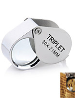 30x21mm Portable Fold-up Stainless Steel + Glass Magnifier for Jewelry