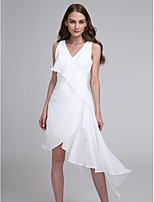 Lanting Bride Asymmetrical Chiffon Bridesmaid Dress A-line V-neck with