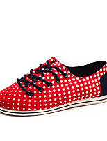 Men's Shoes Canvas Casual Flats Casual Walking Flat Heel Others / Lace-up Blue / Red
