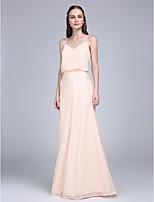 Lanting Bride Sięgająca podłoża Z cekinami Sukienka dla druhny Ołówkowa / Kolumnowa Cienkie ramiączka z