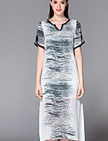 Boutique S Women's Casual/Daily Sophisticated Loose Dress,Print V Neck Midi Short Sleeve White Silk Summer