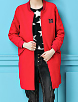 Women's Casual/Daily Street chic Coat,Solid Round Neck Long Sleeve Spring Red Polyester Medium