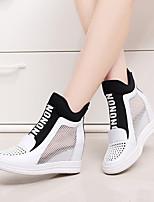Mujer-Tacón Cuña-Cuñas / Punta Redonda-Zapatos de taco bajo y Slip-Ons-Casual-Cuero-Negro / Rojo / Blanco