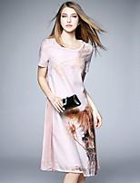 BOMOVO® Women's Round Neck Short Sleeve Knee-length Dress-B16XQ5J