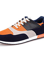 Men's Shoes PU Athletic Flats Athletic Sneaker Flat Heel Lace-up Blue / Red / Orange