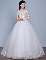 A-라인 웨딩 드레스 바닥 길이 오프 더 숄더 레이스 / 튤 와 레이스