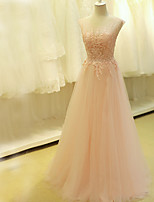 Formal Evening Dress A-line Scoop Sweep / Brush Train Tulle with Appliques / Beading