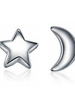 Moonlight Express Star Moon Silver Fashion Hypoallergenic Earrings