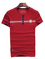 Camiseta De los hombres Estampado-Casual / Trabajo / Deporte-Algodón / Espándex-Manga Corta-Azul / Rojo / Blanco / Gris