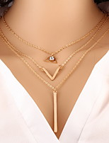 Alloy Triangle Layered Chain Necklace with Pendant