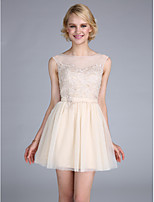 TS Couture® Cocktail Party Dress A-line Bateau Short / Mini Tulle with Appliques / Beading / Sash / Ribbon