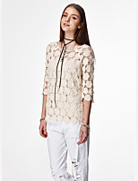 Women's Casual/Daily Simple / Cute Summer Blouse,Solid Round Neck ¾ Sleeve White / Yellow Cotton Thin