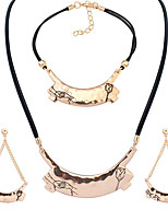 European Style Fashion Simple Metal Rose Holding Hands Couple Necklace Bracelet Earring Set