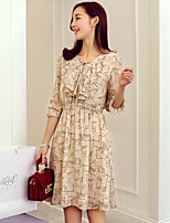 Wake Up® Women's V Neck 3/4 Length Sleeve Midi Dress-L16227