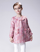 Girl's Casual/Daily Houndstooth Dress,Cotton / Polyester Winter / Spring / Fall Red