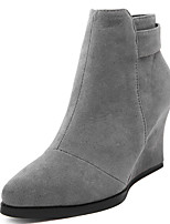 Women's Shoes Fleece Wedges / Fashion Boots / Pointed Toe Boots Party & Evening / Dress / Casual Wedge Heel Zipper