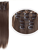 Cheap Hair Extentions Clip in Synthetic Hair #8 Dark Brown 22inch 100g 7pcs/set Synthetic Hair Pieces