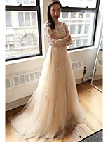 A-line Wedding Dress Sweep / Brush Train Scoop Tulle with Appliques / Lace