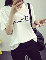 Women's Casual/Daily Simple Summer T-shirt,Print Round Neck Short Sleeve White / Black / Gray Polyester Thin