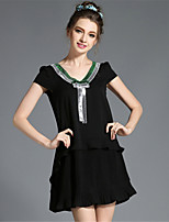 Women's Vintage Fashion Loose Plus Size Sequins Pleat Patchwork Ruffle Short Sleeve Dress
