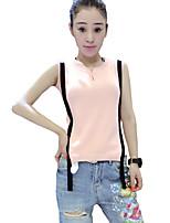Women's Color Block Pink / White / Beige / Black Vest,Street chic Sleeveless