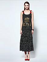 Swing Robe Aux femmes Sortie simple,Points Polka A Bretelles Midi Sans Manches Noir Polyester Eté
