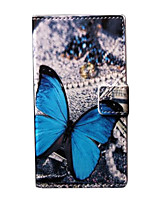 Blue Butterly Pattern PU Leather Case with Stand and Card Slot for Nokia Lumia 730/735
