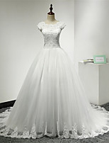 Ball Gown Wedding Dress Chapel Train Scoop Lace / Tulle with Lace / Ruffle / Sash / Ribbon