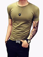 Men's Fashion Solid Round Collar Slim Fit Short-Sleeve T-Shirt;Casual/Cotton/Polyester/Plus Size