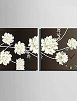 Moderne/Contemporain Fleurs / Botaniques Horloge murale,Carré Toile40 x 40cm(16inchx16inch)x2pcs/ 50 x 50cm(20inchx20inch)x2pcs/ 60 x