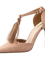 Women's Shoes Suede Club T-Strap Pointed Toe Heels Office & Career / Party & Evening / Dress Stiletto Heel Buckle Tassel