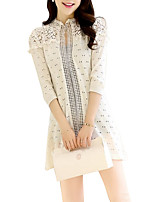 Women's Solid Pink / White / Yellow Cardigan,Cute ¾ Sleeve