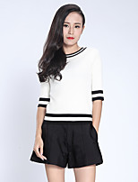 Women's Casual/Daily Simple Regular Pullover,Solid / Striped White Round Neck ½ Length Sleeve Cotton Fall Medium