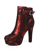 Women's Shoes Fall / Winter Fashion Boots / Round Toe Boots Dress Chunky Heel Zipper Black / Red