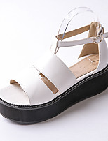 Women's Shoes Platform Platform / Open Toe Sandals Dress / Casual Black / White / Burgundy