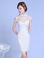 Cocktail Party Dress Sheath / Column High Neck Knee-length Lace / Tulle with Lace