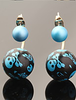 Multicolor Luxury Skull Print Ball Skeleton Pearl Earrings